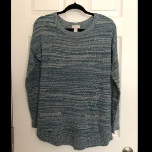 LOFT Green Scoop Neck Sweater